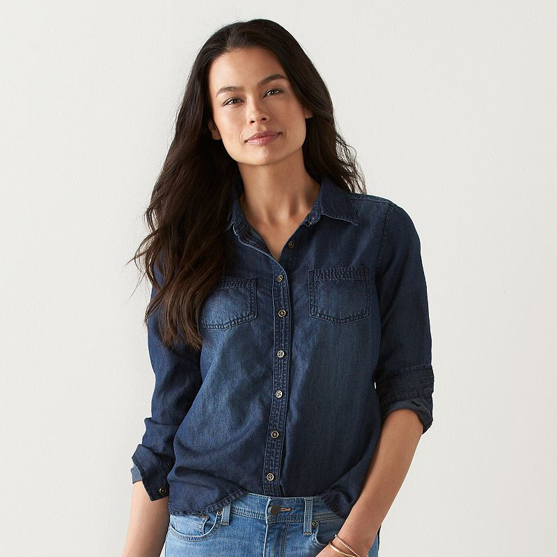 Petite SONOMA Goods for Life™ Essential Denim Shirt