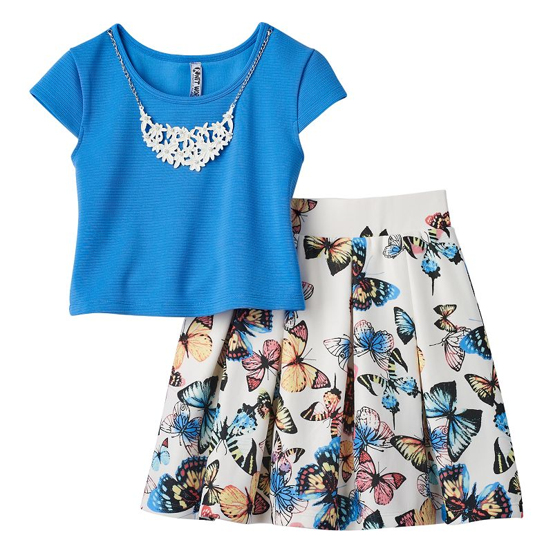Girls 7-16 Knitworks Solid Top, Printed Skirt & Necklace