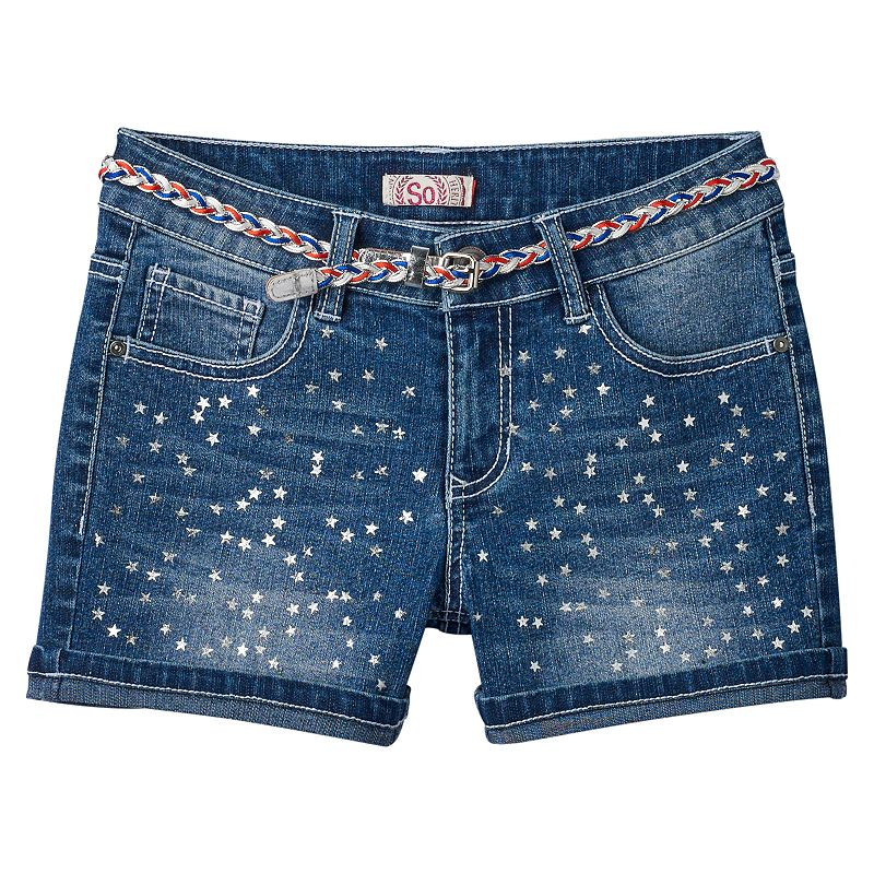 Girls 7-16 & Plus Size SO® Foil Stars Belted Shorts