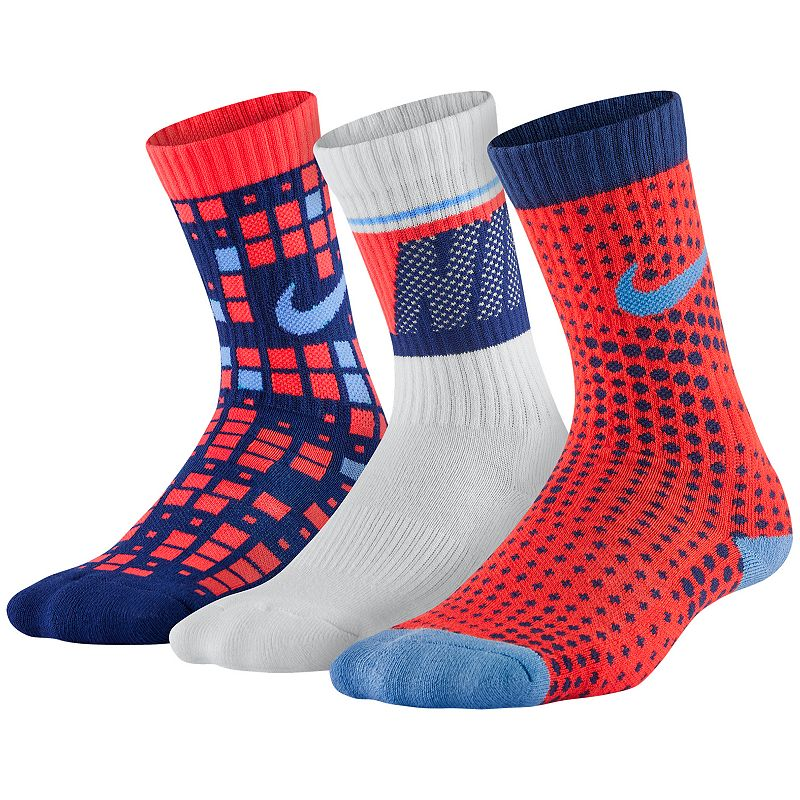Boys Nike 3-Pack Graphic Crew Socks