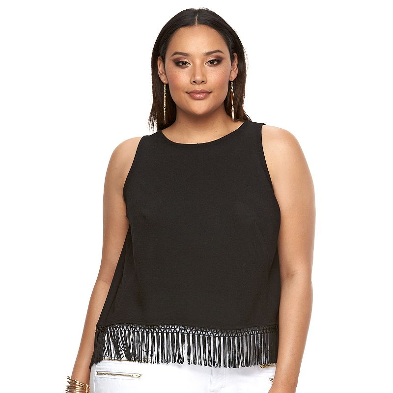 Plus Size Jennifer Lopez Fringed Crop Top