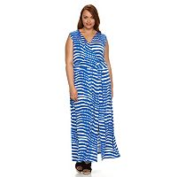 Plus Size Design 365 Printed Surplice Maxi Dress