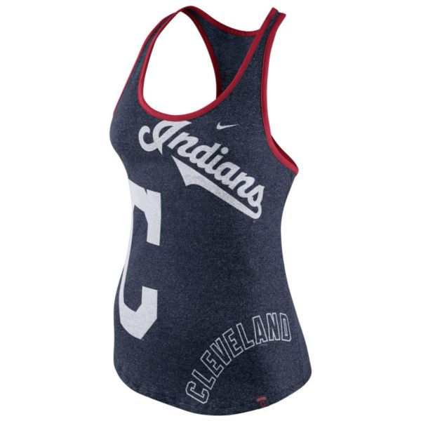 Women's Nike Cleveland Indians Marled Racerback Tank Top