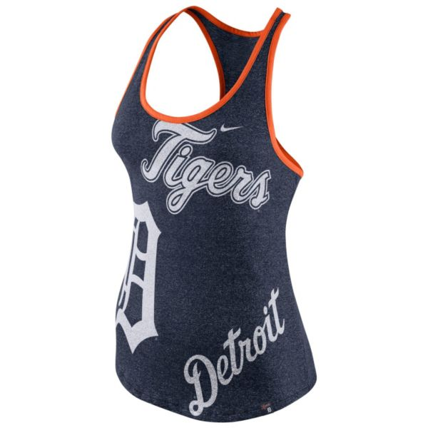 Women's Nike Detroit Tigers Marled Racerback Tank Top