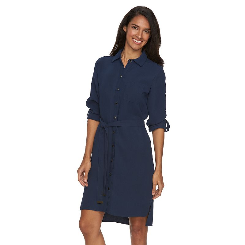 Women's Sharagano Crepe Roll-Tab Shirtdress