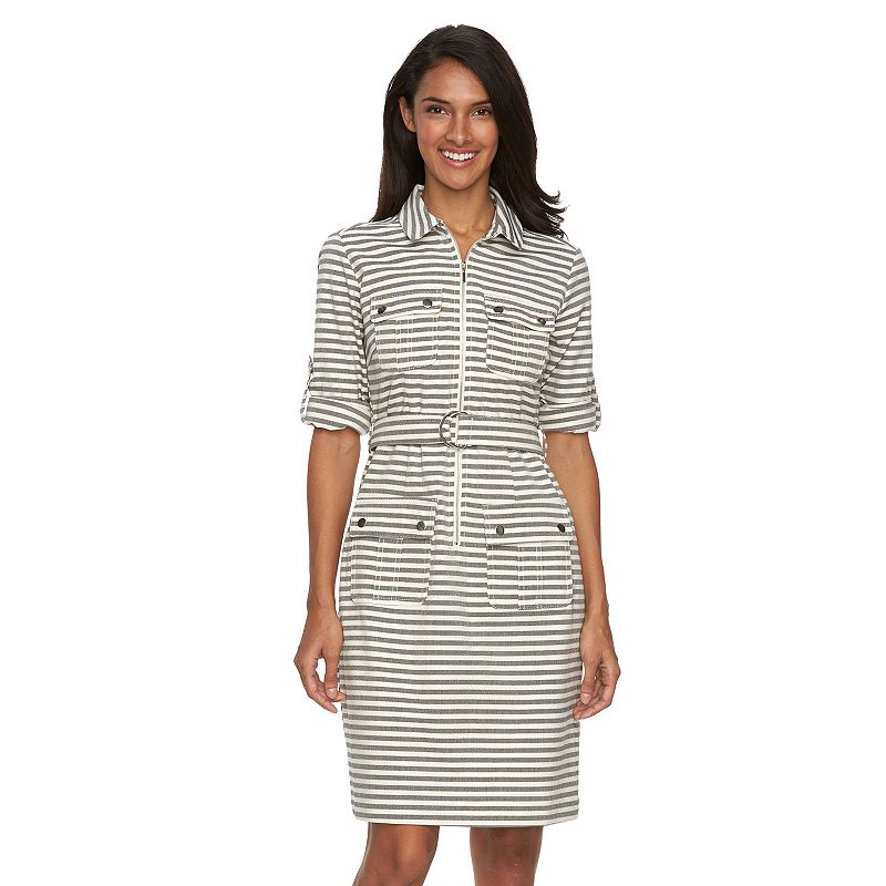 Women's Sharagano Striped Belted Shirtdress