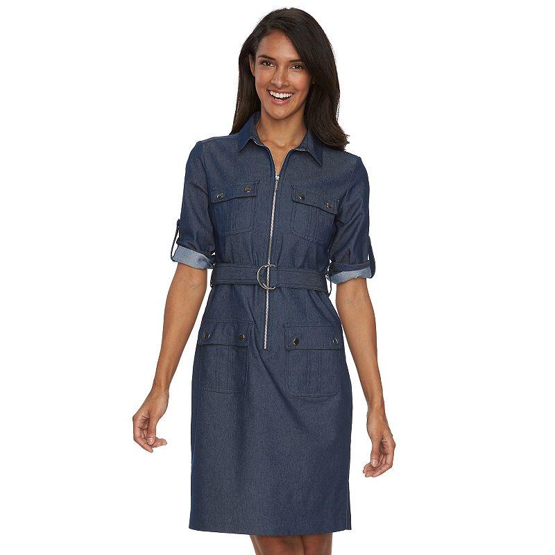 Women's Sharagano Solid Roll-Tab Shirtdress
