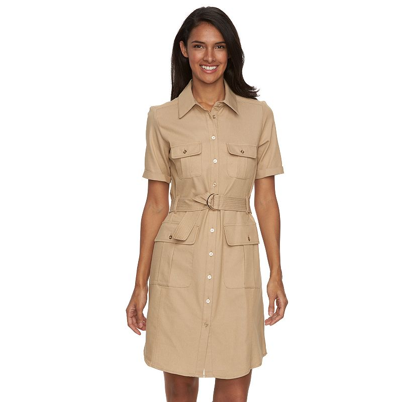 Women's Sharagano Solid Belted Roll-Tab Shirtdress