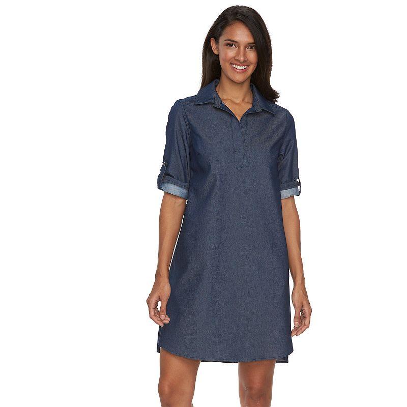 Women's Sharagano Splitneck Roll-Tab Shirtdress