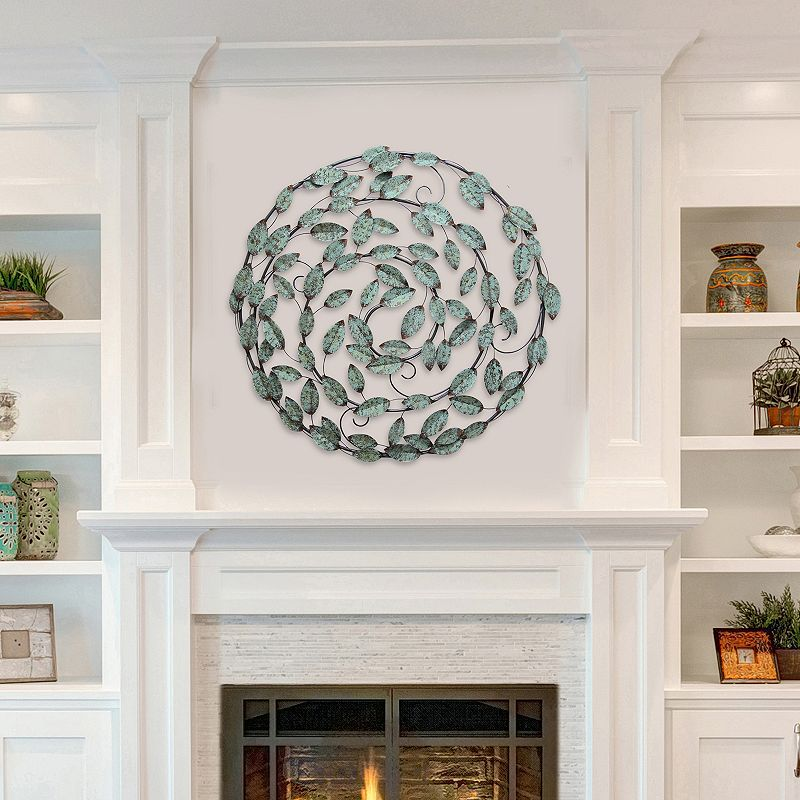 Stratton Home Decor Circle Blowing Leaves Wall Decor