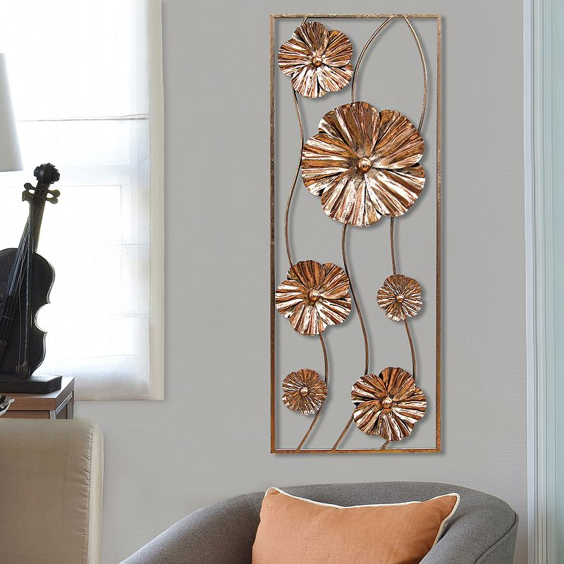 Stratton Home Decor Metallic Flower Panel Metal Wall Decor