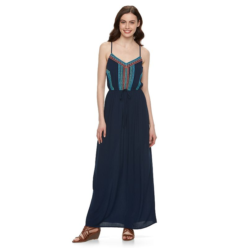 Juniors' Lily Rose Embroidered Gauze Maxi Dress