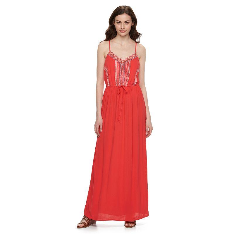 Juniors' Lily Rose Mixed Media Maxi Dress