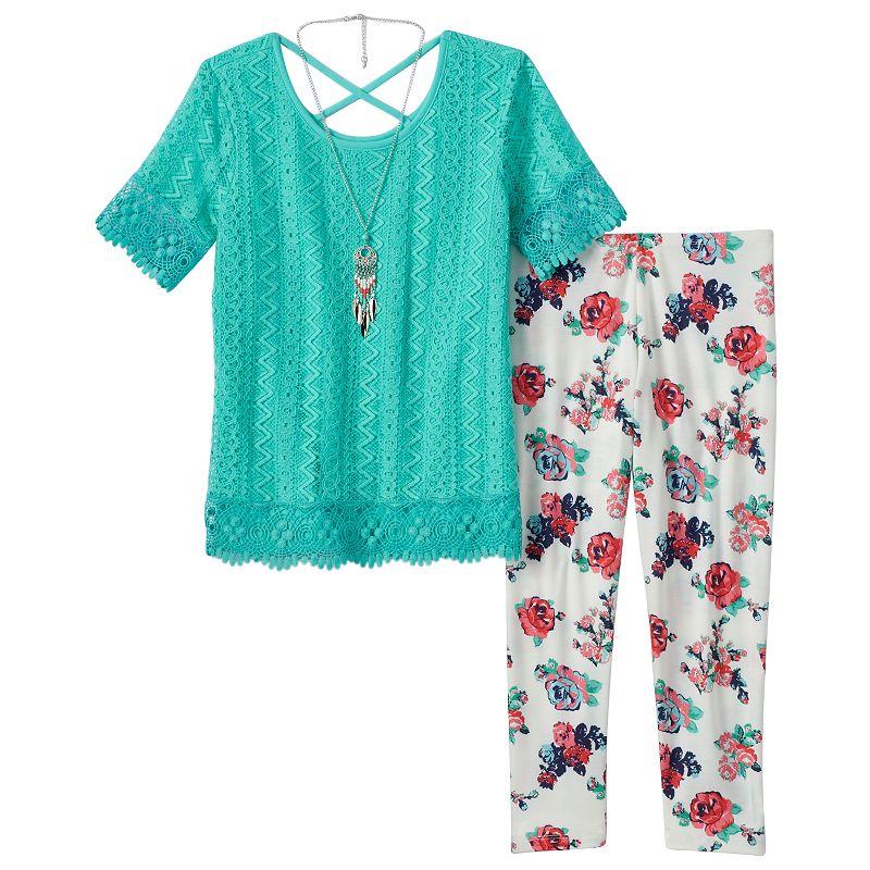 Girls 7-16 Self Esteem Fringed Knit Top, Floral Pants & Necklace