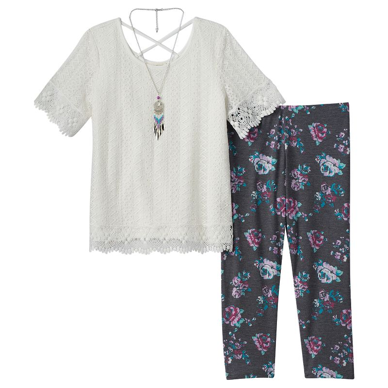 Girls 7-16 Self Esteem Fringed Knit Top, Floral Pants & Necklace