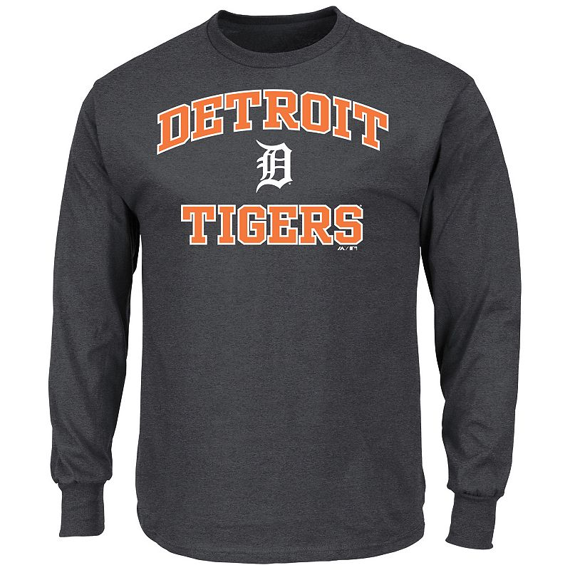 Men's Majestic Detroit Tigers Heart and Soul Long-Sleeve Tee