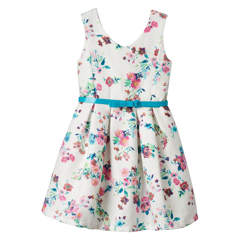 Girls 7-16 Knitworks Belted Floral Skater Dress