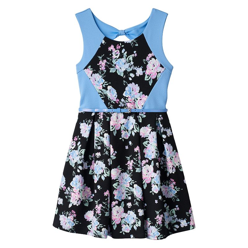 Girls 7-16 Knitworks Belted Bow-Back Skater Dress