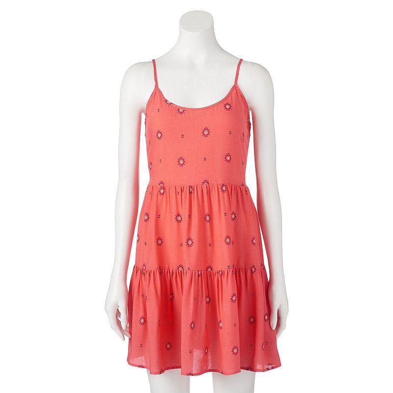 Juniors' Mudd® Lace-Back Tiered Dress
