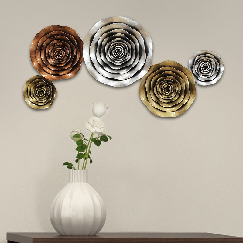 Stratton Home Decor Winding Metallic Flowers Metal Wall Decor