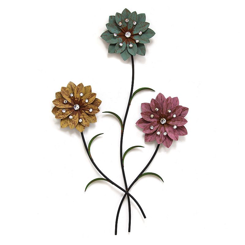 Stratton Home Decor Whimsical 3-Stem Flowers Metal Wall Decor