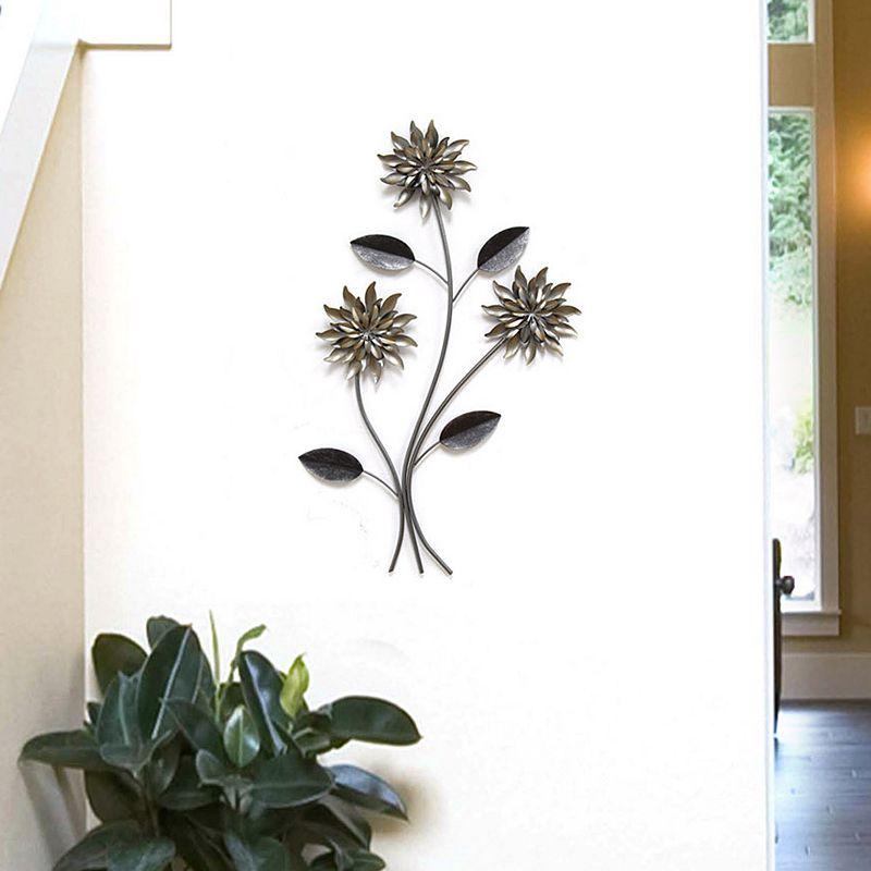 Stratton Home Decor 3-Stem Flowers Metal Wall Decor