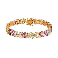 18k Gold Over Silver Gemstone & Diamond Accent Leaf Tennis Bracelet by