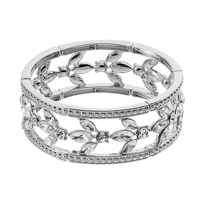 Marquise Leaf Multi Row Stretch Bracelet