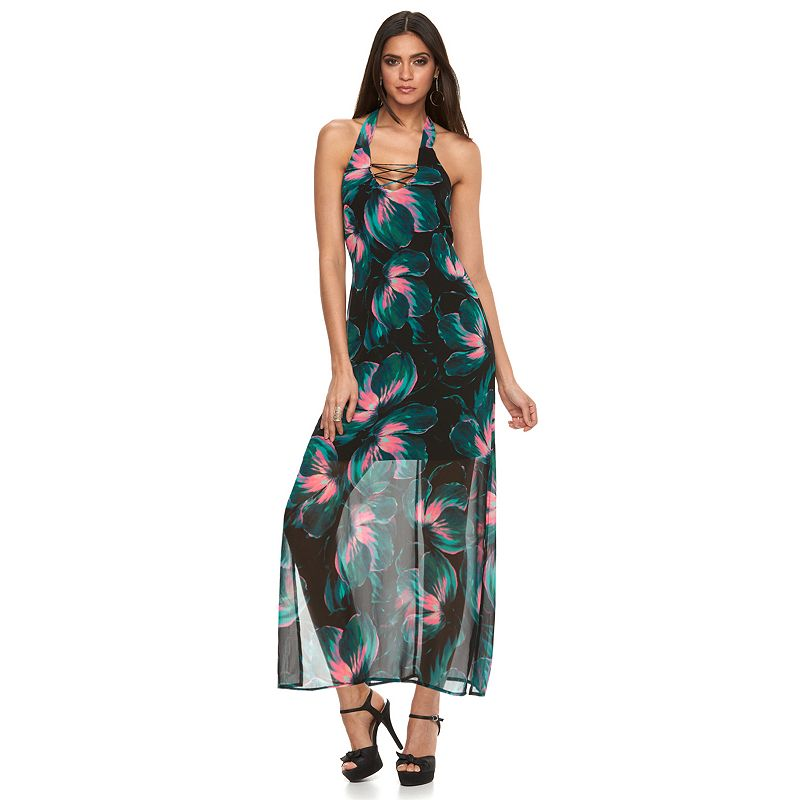 Petite Jennifer Lopez Floral Halter Maxi Dress