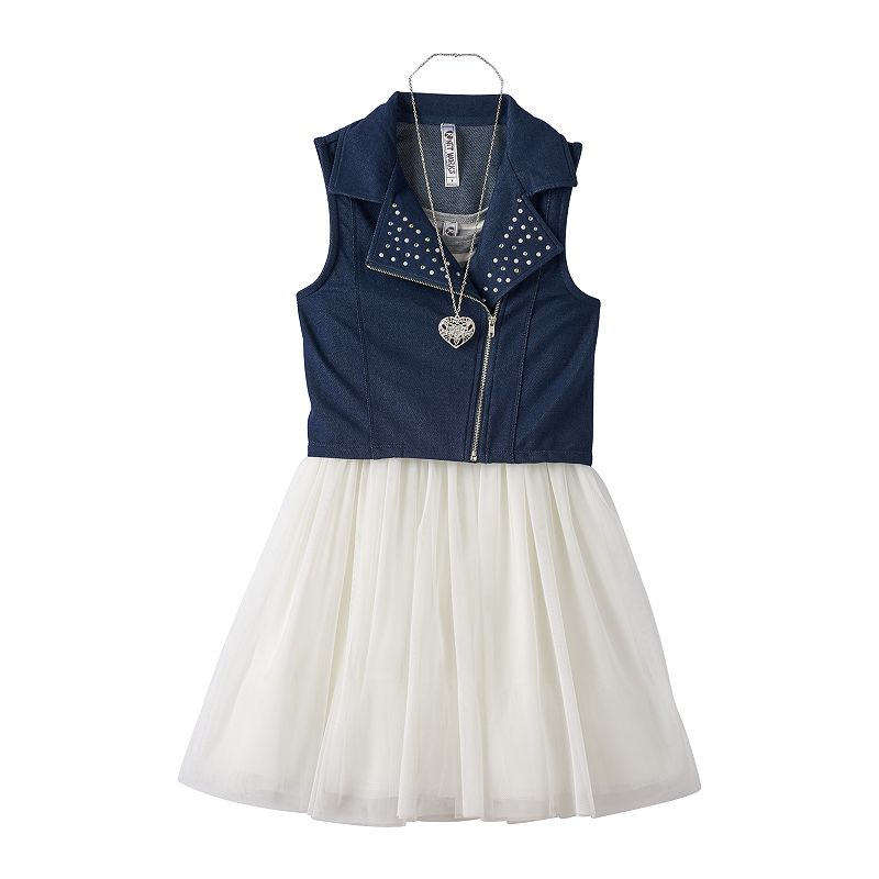 Girls 7-16 Knitworks Striped Tulle Dress, Moto Vest & Necklace