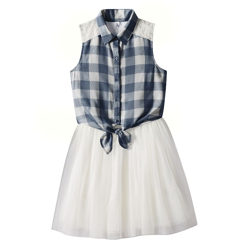 Girls 7-16 Knitworks Plaid Lace Dress