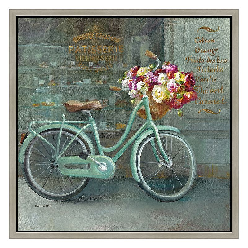 Paris Vintage Bicycle Framed Canvas Wall Art
