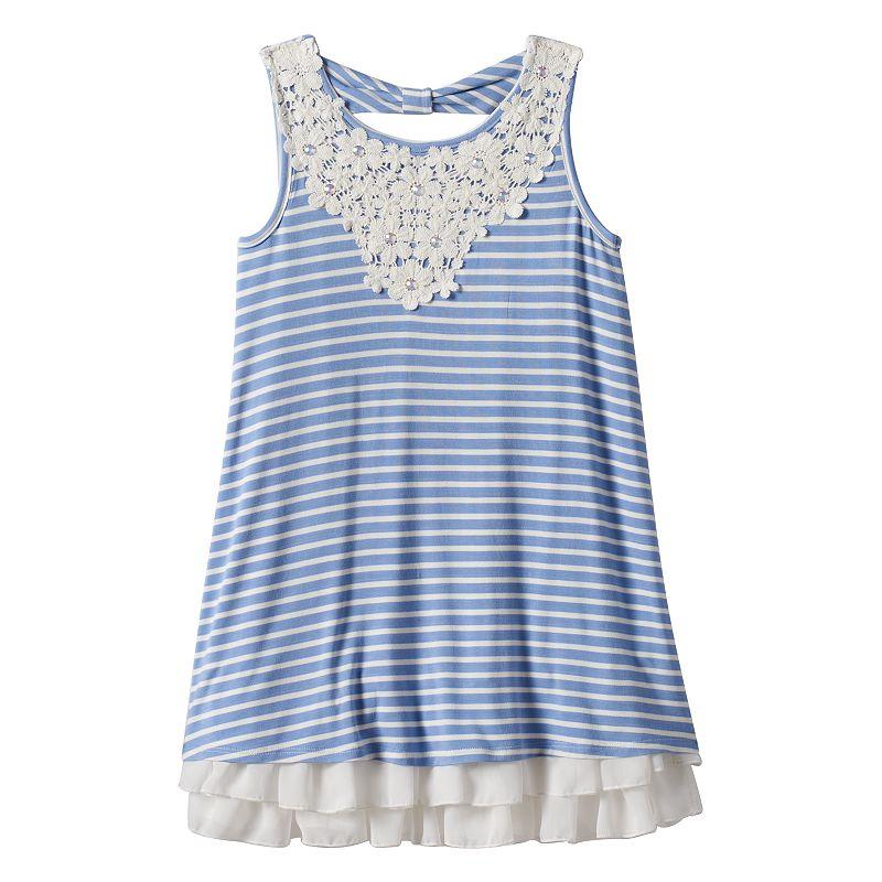 Girls 7-16 Knitworks Striped Bow-Back Dress