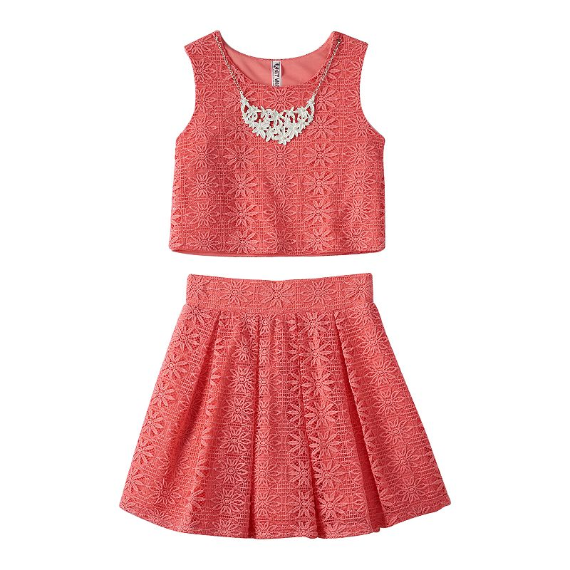 Girls 7-16 Knitworks Crochet Crop Tank Top, Skirt & Necklace