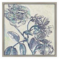 Blue Flowers I Framed Canvas Wall Art
