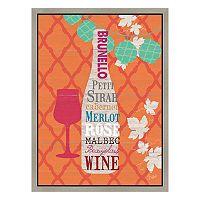 Wine on Orange Framed Canvas Wall Art