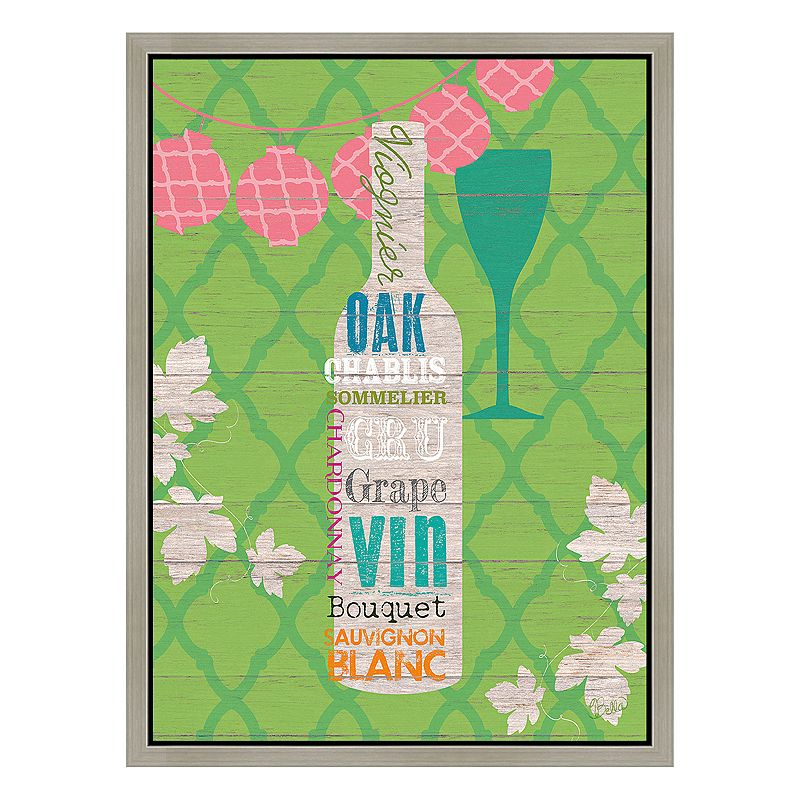 Wine on Olive Framed Canvas Wall Art