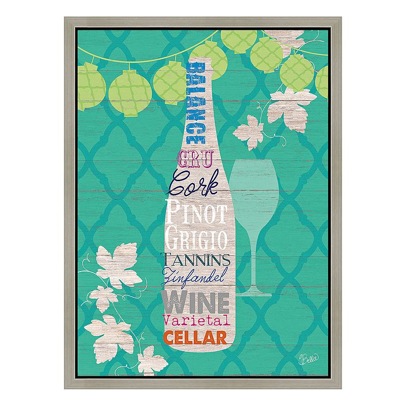Wine on Green Framed Canvas Wall Art