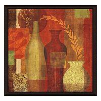 Vases On Red I Framed Canvas Wall Art