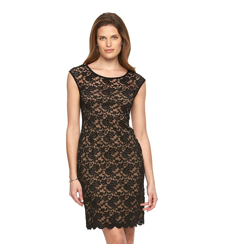 Women's Connected Apparel Floral Lace Sheath Dress