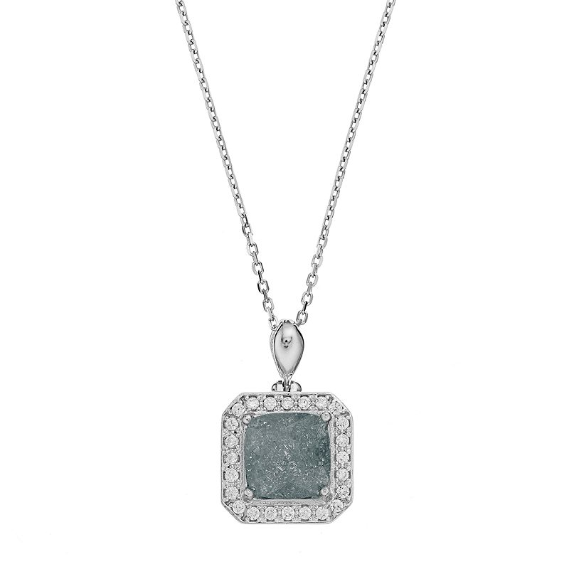 Sterling Silver Cubic Zirconia Square Halo Pendant