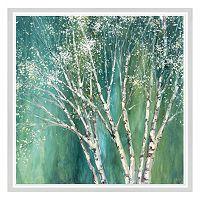 Blue Birch Tree Framed Canvas Wall Art
