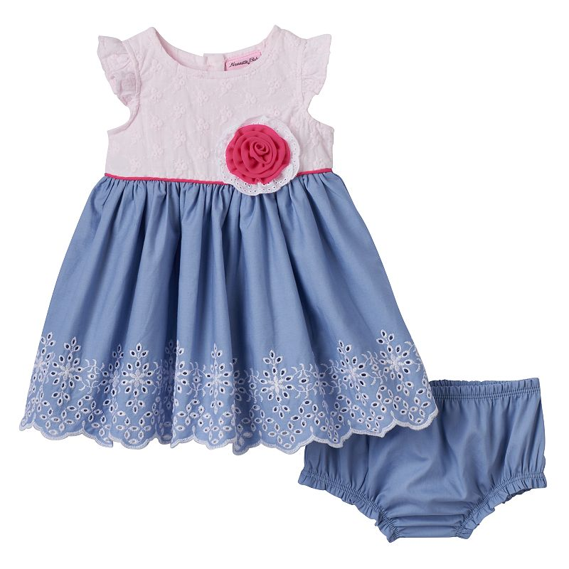 Baby Girl Nannette Eyelet Chambray Dress