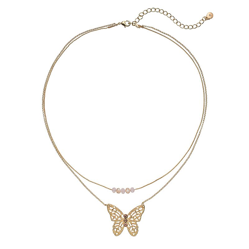 LC Lauren Conrad Butterfly Double Strand Necklace