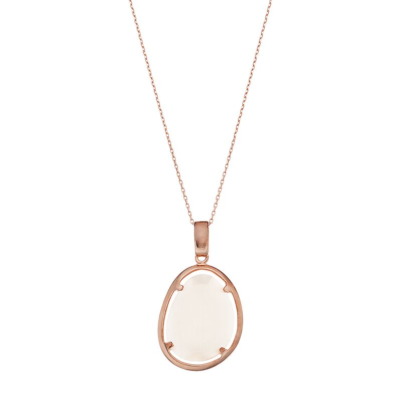 14k Rose Gold Over Silver Lab-Created Champagne Cat's-Eye Teardrop Pendant