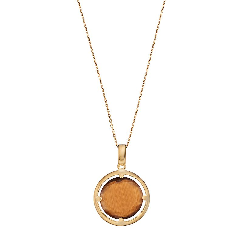 14k Gold Over Silver Lab-Created Brown Cat's-Eye Circle Pendant