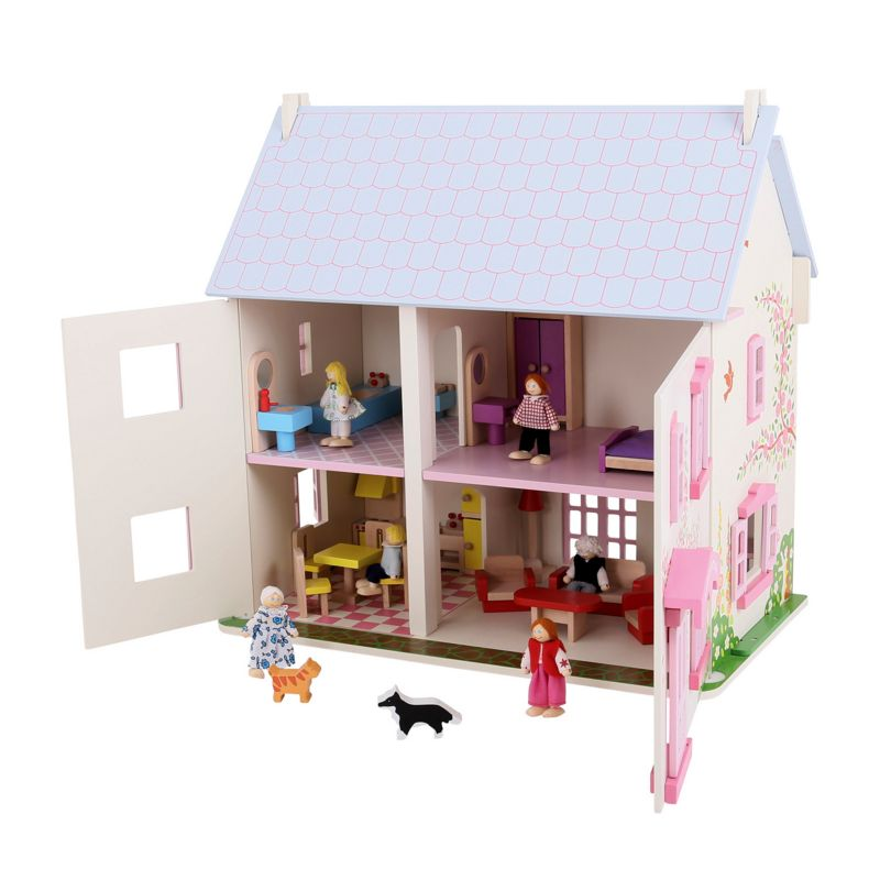 Bigjigs Toys Rose Cottage Dollhouse, Multicolor
