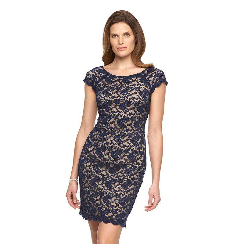Women's Connected Apparel Floral Lace Sheath Dress