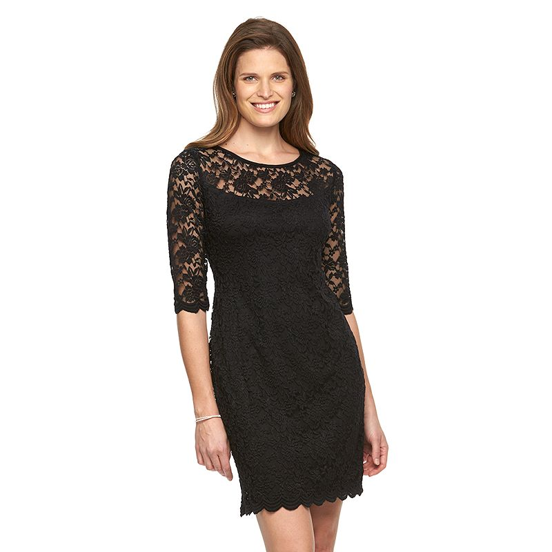 Women's Connected Apparel Scallop Lace Sheath Dress