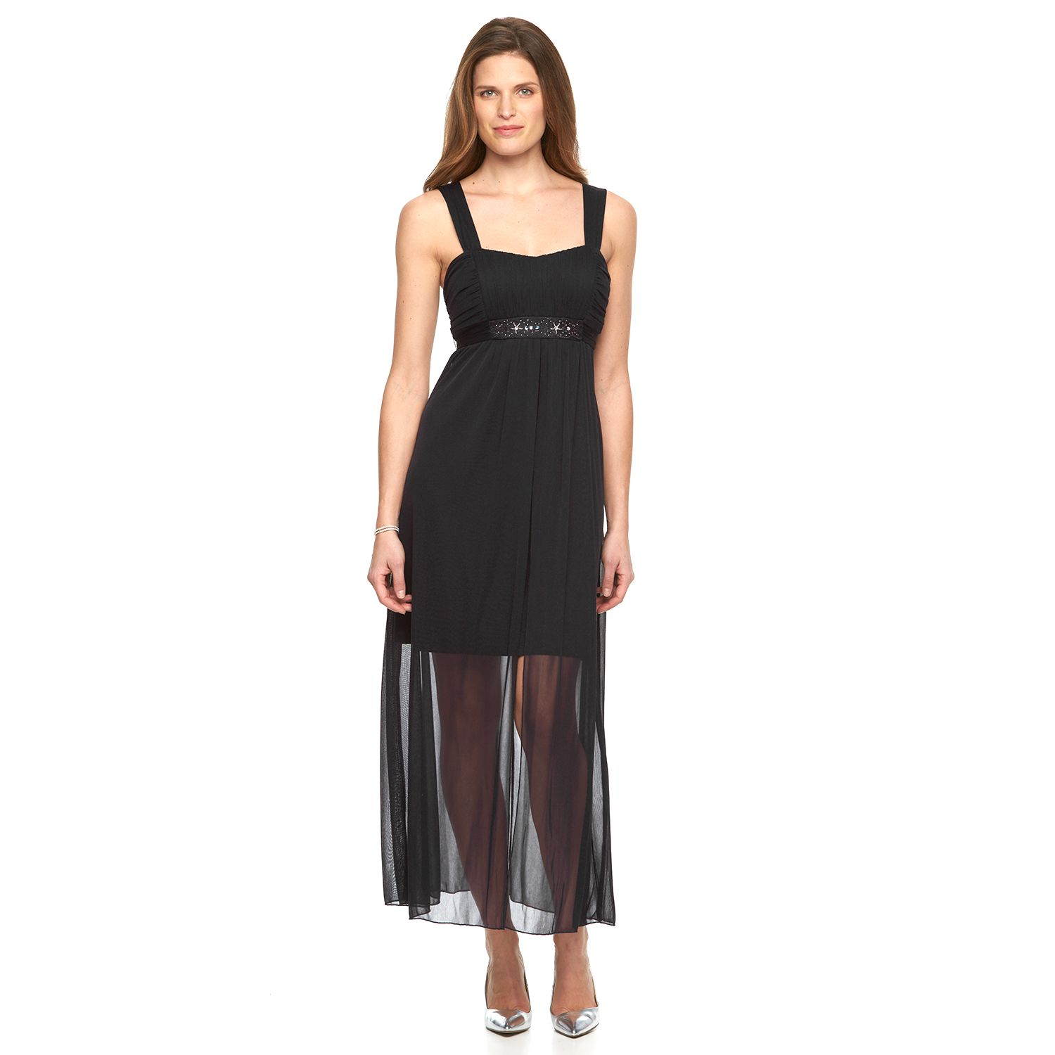 Womens Connected Apparel Chiffon Maxi Dress